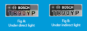 The Bosch secure code holographic label is difficult to imitate and helps in identifying genuine Bosch parts