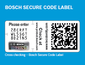 identify genuine bosch parts using the Bosch secure code label